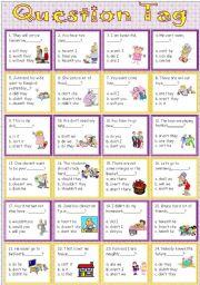 English Worksheet: Question Tag