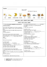 English Worksheet: EAT IT - song about food
