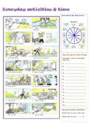 English Worksheet: EVERYDAY ACTIVITIES + TIME