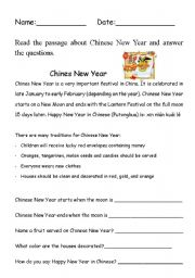 Chinese New Year Comprehension - ESL worksheet by bleue77