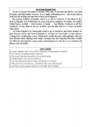 English Worksheets: On Ivana Kupala Day