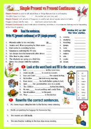 English Worksheet: Simple Present vs Present Continuous Tense