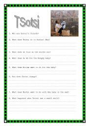 English Worksheets: TSOTSI - Movie Activity