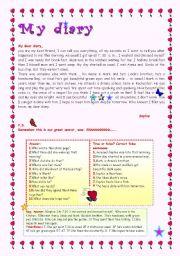 English Worksheet: MY DIARY