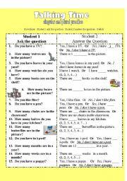 English Worksheets: Talking Time-Singular and Plural Practice