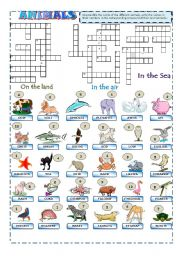 English Worksheet: Animals Crossword