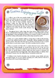 English Worksheet: Reading - continue enjoying YOUR COFFEE