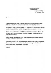 English Worksheets: a letter from a penfriend