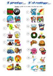 English Worksheet: Prefer & Would rather...