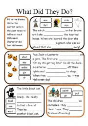 English Worksheet: What Did They Do on Halloween?