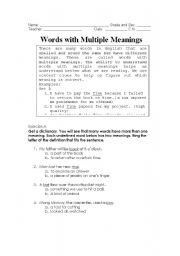 math worksheet : english worksheet words with multiple meanings : Words With Multiple Meaning Worksheets