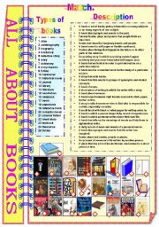 English Worksheet: All About Books (with B/W and answer key) ** fully editable