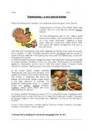English Worksheet Reading Comprehension Thanksgiving