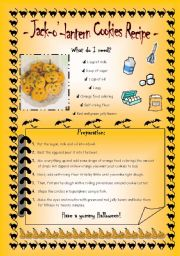 English Worksheet: Jack-o´-lantern cookies recipe