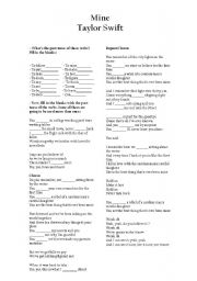 English Worksheets: Mine- Taylor Swift