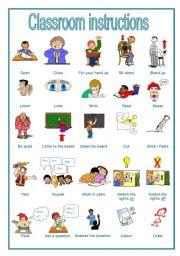 English Worksheets: Classroom instructions, a handout (editable)
