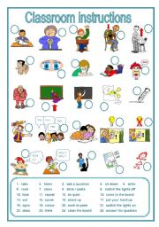 Classroom instructions flashcards worksheet free esl printable.