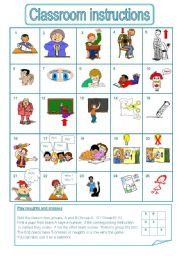 18 free esl classroom instructions worksheets.