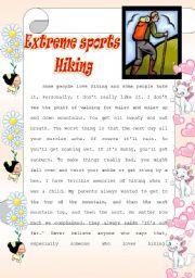 English Worksheet: Extreme sports- Hiking