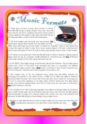 English Worksheets: Reading - Music Formats