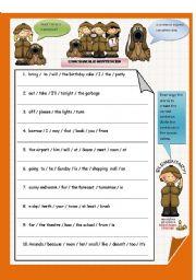 Grammar worksheets > Word order > Unscramble sentences