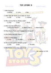 English Worksheets: TOY STORY 3 from 60 to 1.15 minutes