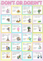 English Worksheets: Don�t or Doesn�t
