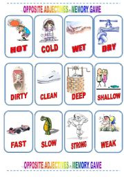 English Worksheet: MEMORY CARD - OPPOSITE ADJECTIVES - Part I
