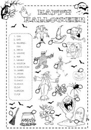 english worksheet halloween matching activity