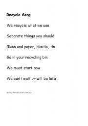 English teaching worksheets: Recycling
