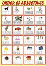 English worksheet: ORDER OF ADJECTIVE ( multiple choice with keys )