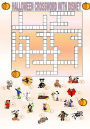 English Worksheet Halloween Crossword With Disney