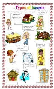 Types of houses worksheet by claudiafer for Names of different house styles