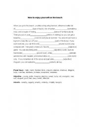 English Worksheet: Parts of Speech - Mad Libs Activity - A Day at the Beach