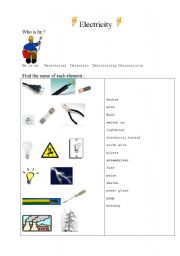 English teaching worksheets: Electricity