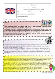 English Worksheet: Assessment Test on Hobbies