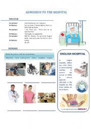 English Worksheet: Hospital: admission to hospital