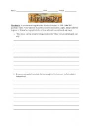 English Worksheets: Ink Heart Activity Sheet to go along with Movie