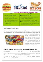 Fast Food - pros & cons; comprehension, and essay (2 pages)