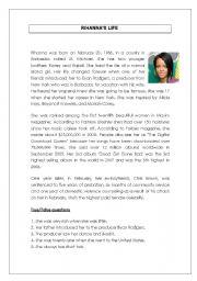English Worksheets: reading comprehension - rihanna biography