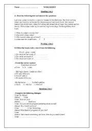 English Worksheets: reading- writing worksheet