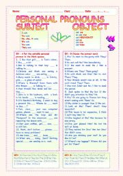 English Worksheet: PERSONAL PRONOUNS : SUBJECT AND OBJECT.