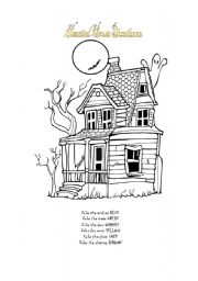 english worksheet haunted house directions - Halloween Following Directions