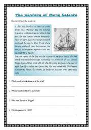 English Worksheet: The mystery of Mary Celeste