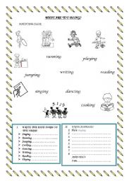 English Worksheets: what are you doing?