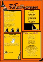 English Worksheet: Halloween Poems and Jokes