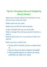 English Worksheets: money management