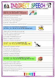 English Worksheet: INDIRECT SPEECH - brief explanations + short exercises