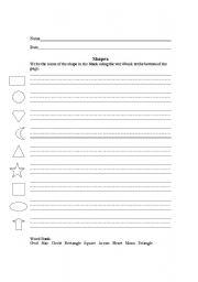 English Worksheet: Shapes handwriting worksheet