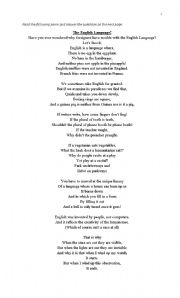 English Worksheet: The English Language Poem
